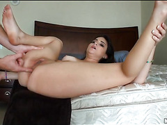 Large piece of meat is entering mouth and anus of one sexy gal