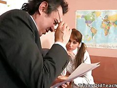 Valya came to the teacher's office to pass the test and suddenly the old chap came closer and started peting the coed.