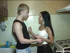 After getting undressed by this guy before her boyfriend, cutie takes his dick