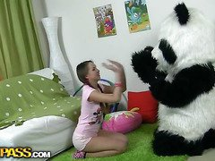 In this unusual sex clip u'll watch a beautiful teenage hotty playing with toy. But it's not just a toy, it's a large panda bear, and this guy's so fun to play with! This Chab can do anything the angel wants, but this babe should strip stripped in return. But imagine the angel's surprise when that babe saw panda's huge strap on! This Sweetheart had not at any time thought of him as sex partner previous to, but since this chab's so well-equipped and horny, why not go for a nasty sex play with him? So the panda bear banged the breasty teenage in all possible poses ...