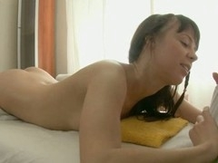 Beauty gets a huge vibrator on her clits in advance of wild drilling