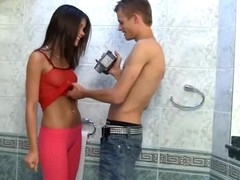 Little Caprice caught pissing & copulates on camera right in the toilet room